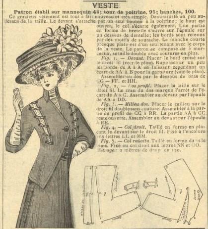 1908 wykrój secesyjnego żakietu