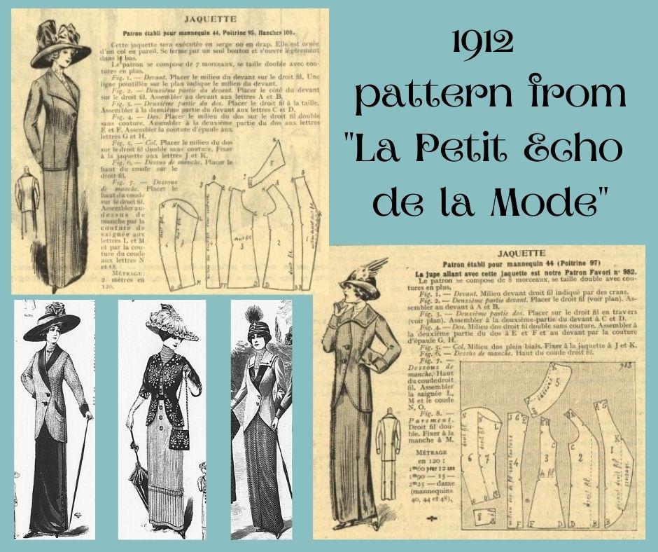 1912 - schemat kroju na żakiet edwardiński