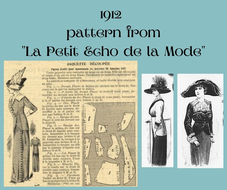 1912 żakiet odcięty w talii